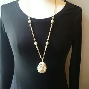 Beautiful multi color crystal egg necklace